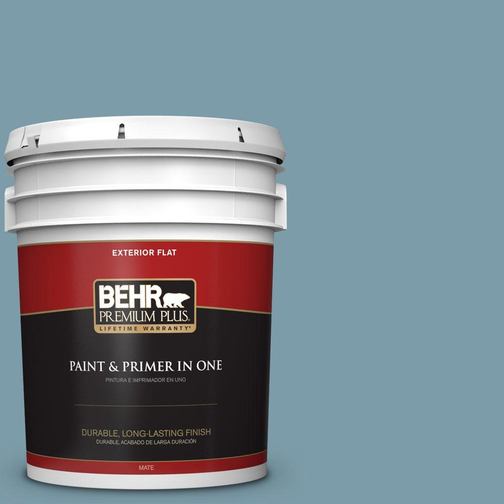 5-gal. #S470-4 Dolphin Blue Flat Exterior Paint