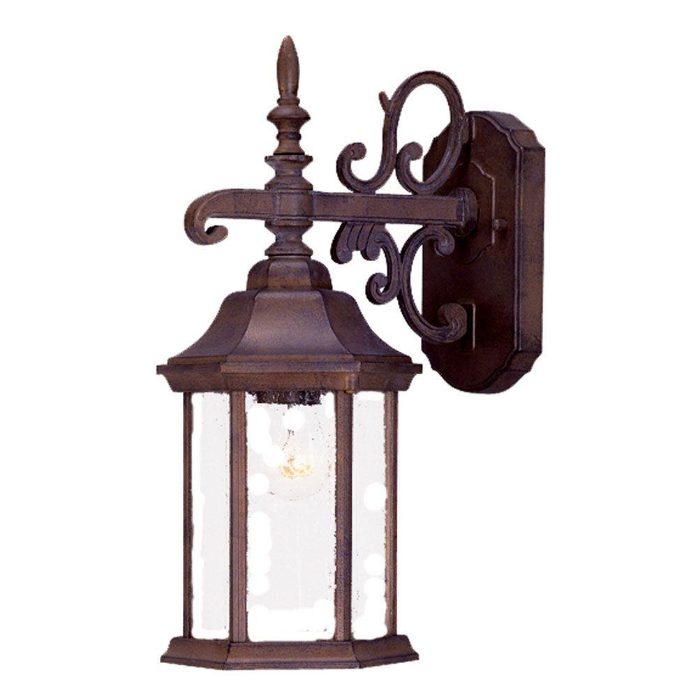 Madison Collection 1-Light Burled Walnut Outdoor Wall-Mount Light Fixture