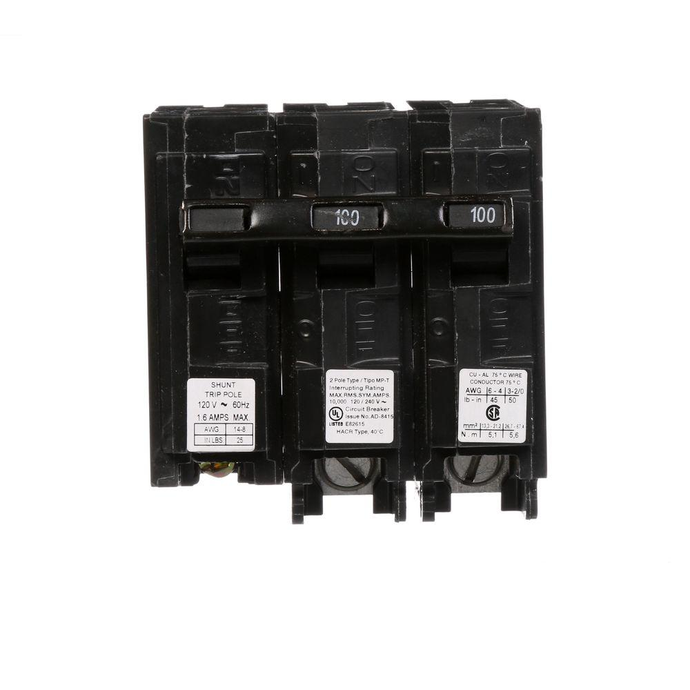 100 Amp Double-Pole Type MP Plug-In Circuit Breaker with 120-Volt Shunt