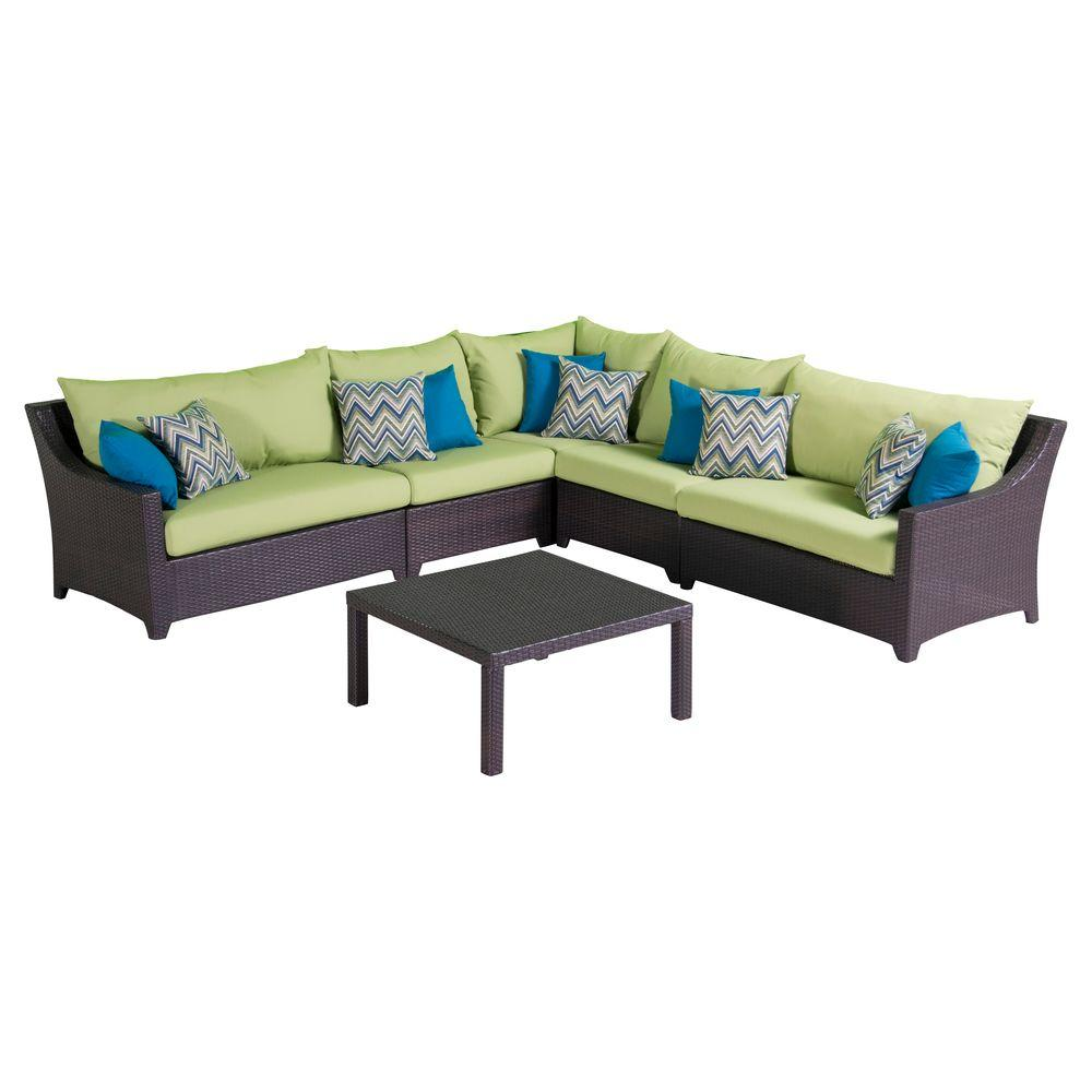 Deco 6-Piece Patio Sectional Seating Set with Ginkgo Green Cushions