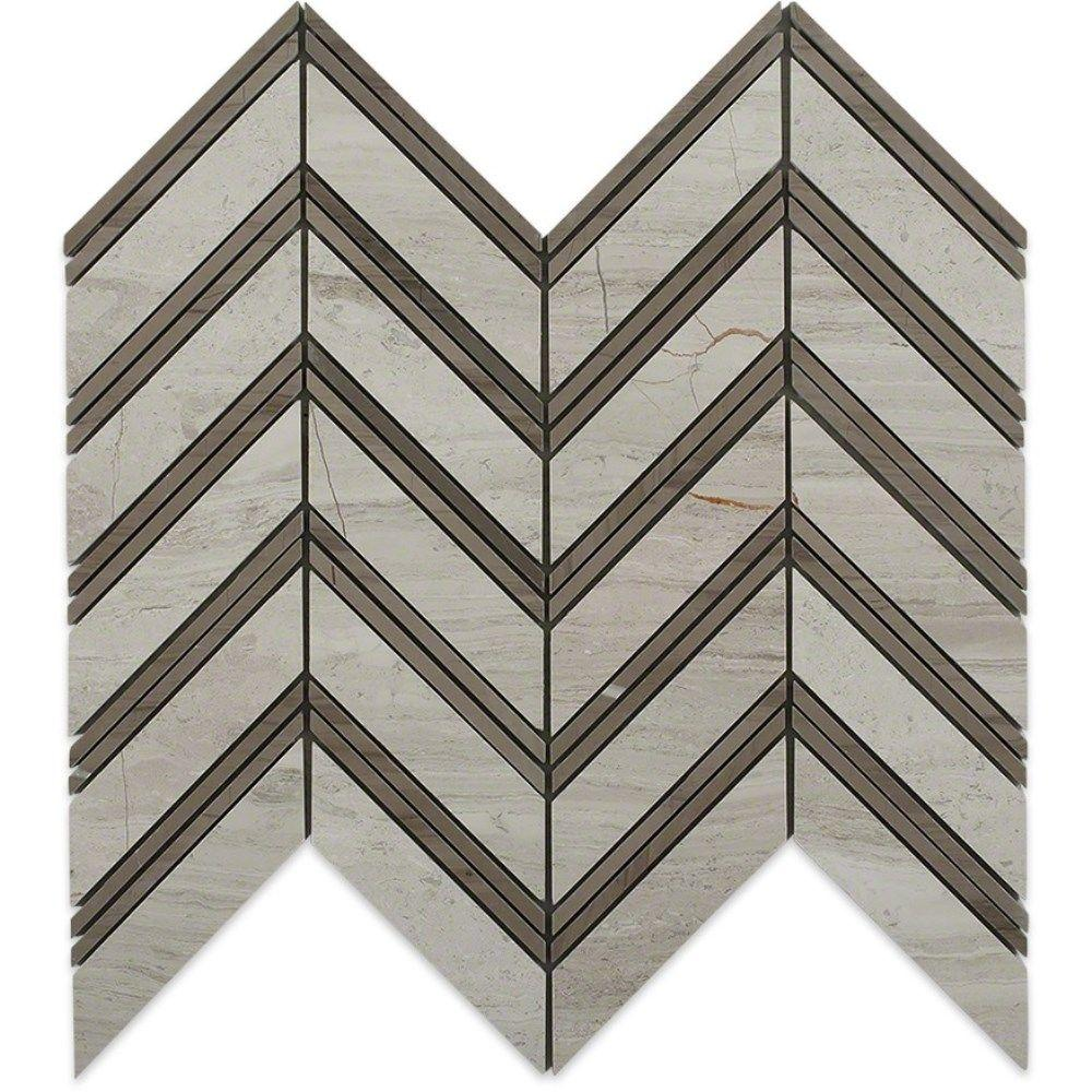Splashback Tile Royal Herringbone Wooden Beige and Athens Gray Strips 10-1/2 in. x 12 in. x 10 mm Polished Marble Mosaic Tile, Beige/Polished