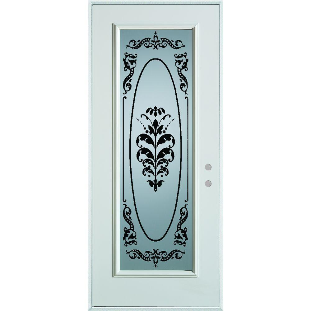 32 in. x 80 in. Silkscreened Glass Full Lite Prefinished White Steel Prehung Front Door