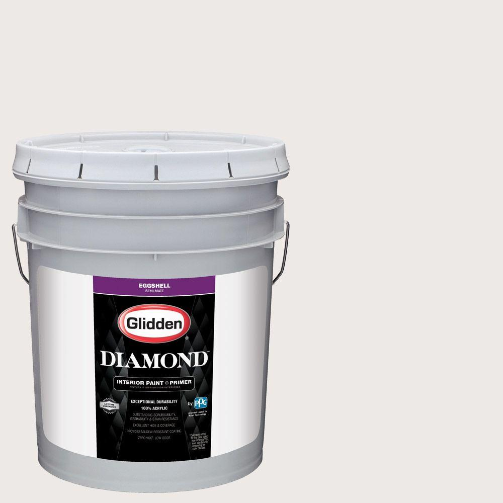 5 gal. #HDGWN22 Marshmallow White Eggshell Interior Paint with Primer