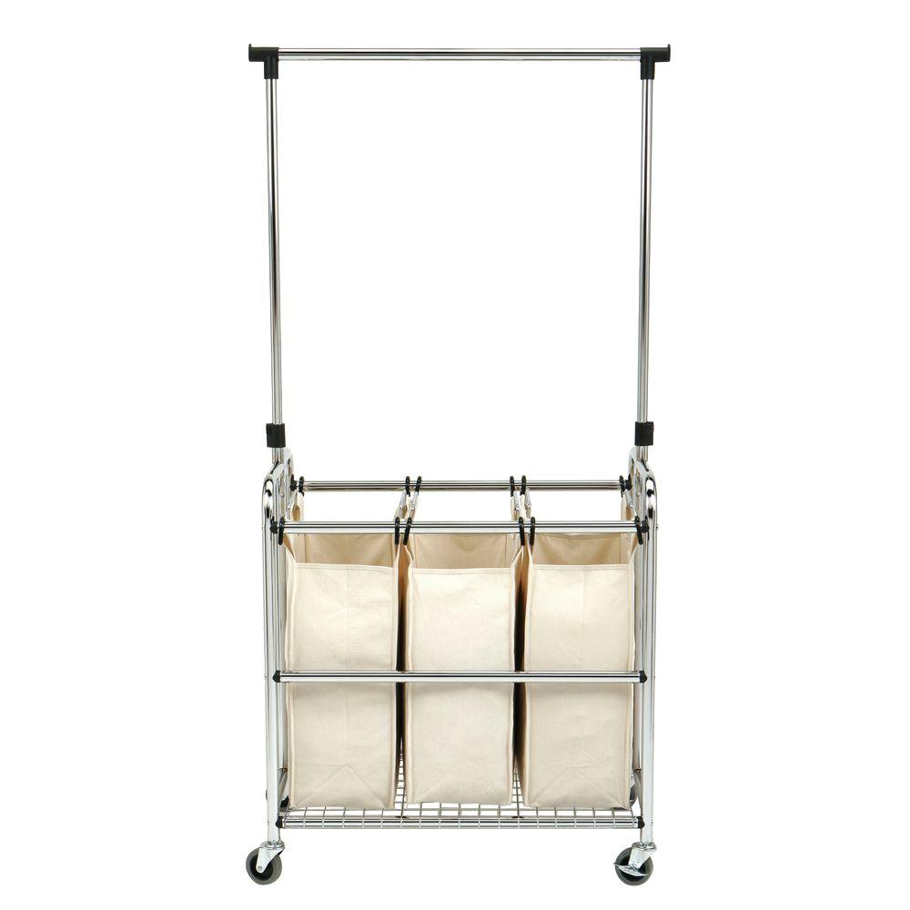 Laundry Hanging Bar Seville Classics 3 Bag Laundry Sorter With Hanging Bar She16165b