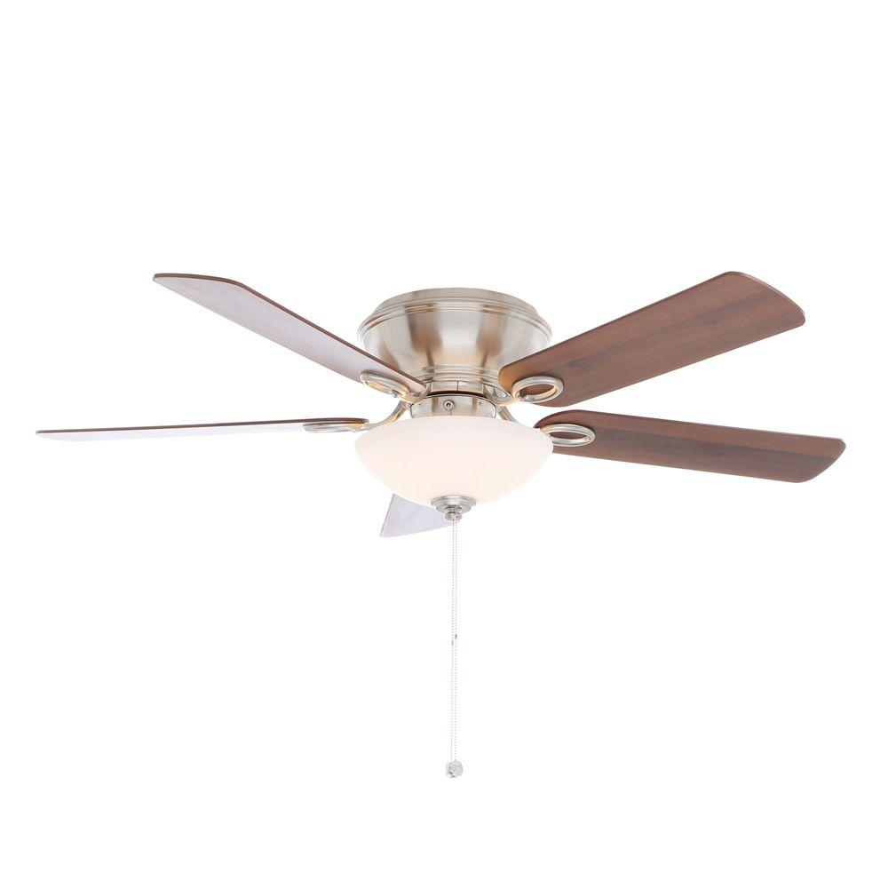 Hampton Bay Adonia 52 in. Indoor Brushed Nickel Ceiling Fan with Light Kit