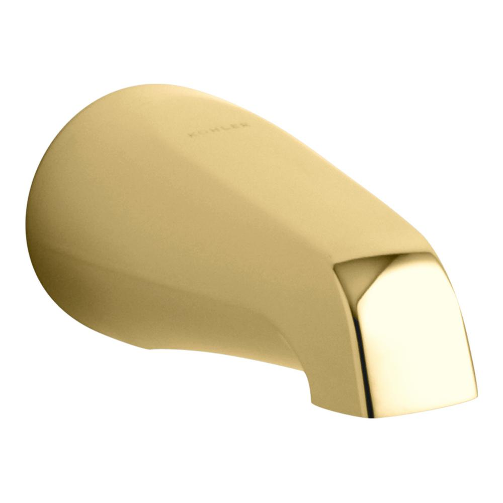 KOHLER Devonshire Wall-Mount Non-Diverter Bath Spout with NPT Connection in Vibrant Polished Brass