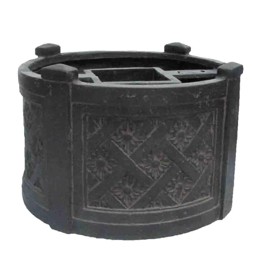 18 in. Dia Charcoal Cast Stone Mailbox Planter