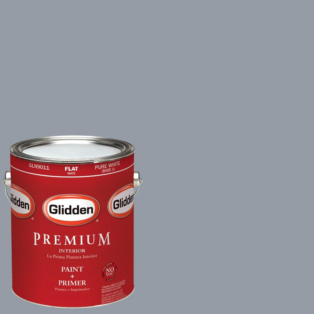 1-gal. #HDGCN46U Blue Grey Sky Flat Latex Interior Paint with Primer