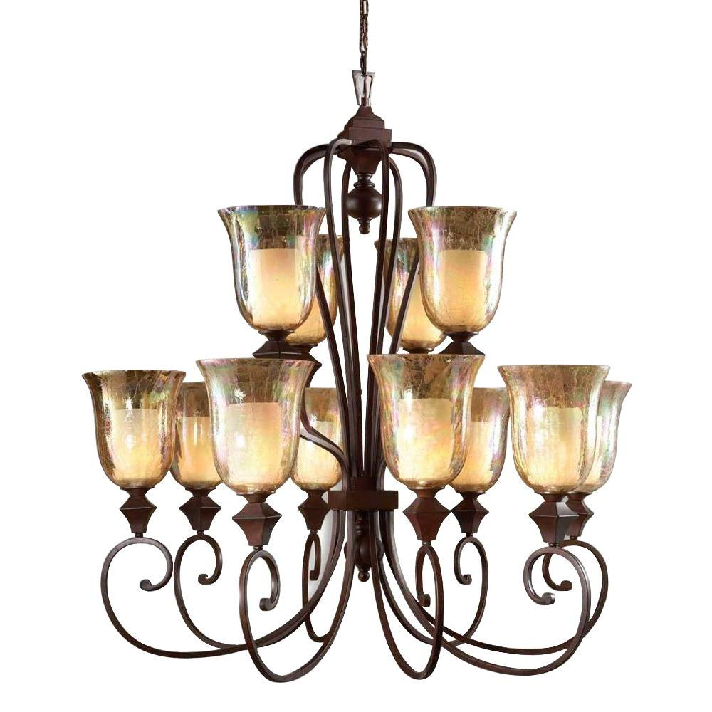 Global Direct 12-Light Bronze Candle Chandelier