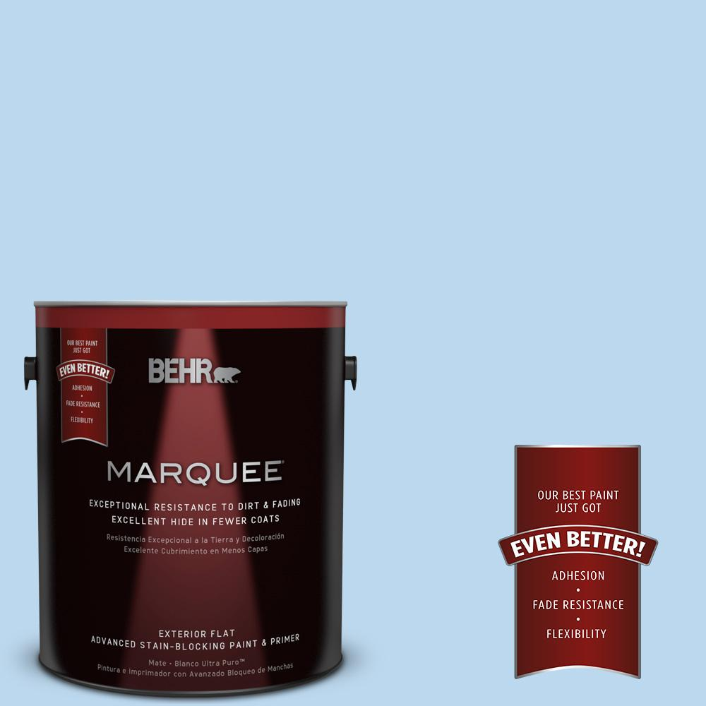 BEHR MARQUEE 1-gal. #P520-1 First Rain Flat Exterior Paint-445001 - The