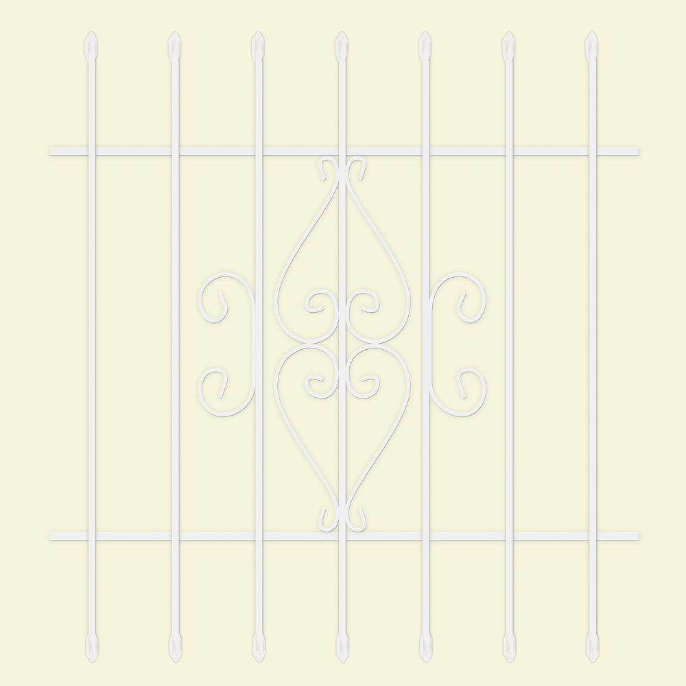 36 in. x 36 in. Su Casa White 7-Bar Window Guard