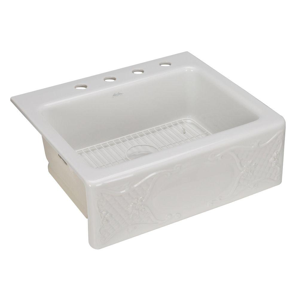 KOHLER Tidings Design on Alcott Tile-In Apron Front 25x22x8.65 4-Hole Single Bowl Kitchen Sink in White-DISCONTINUED