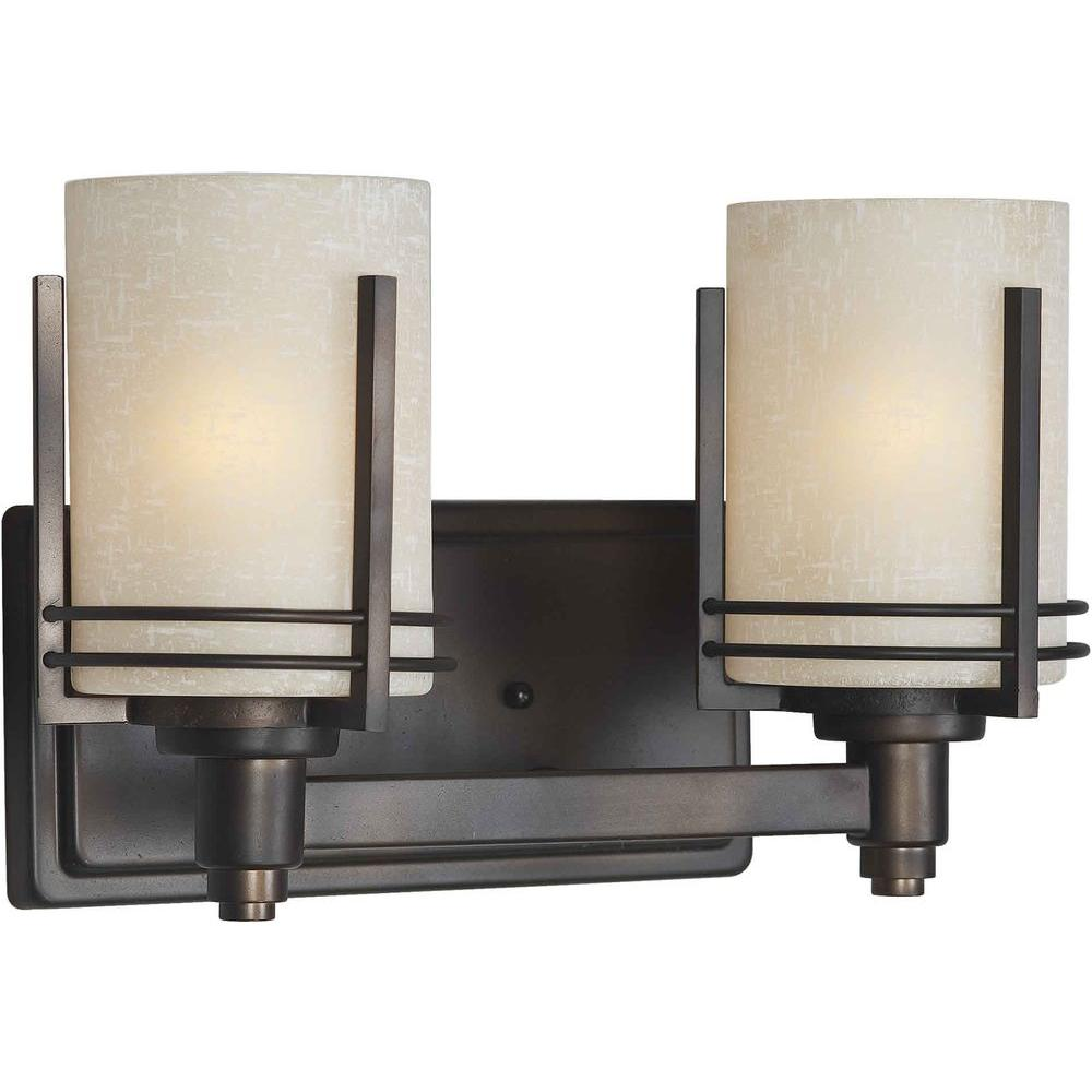 Ethan 2-Light Antique Bronze Bath Vanity Light with Umber Linen Glass