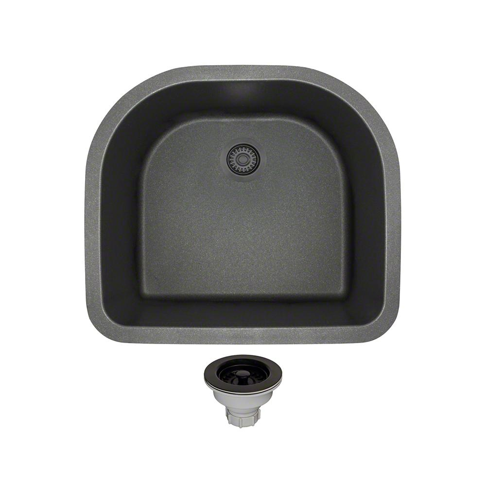 All-in-One Undermount Composite 24-3/4 in. Single Bowl Kitchen Sink in Black