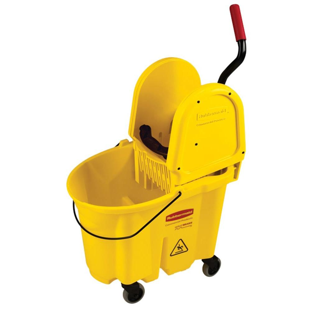 Wave Brake 35 Qt. Yellow Down-Press Combo Mop Bucket and Wringer