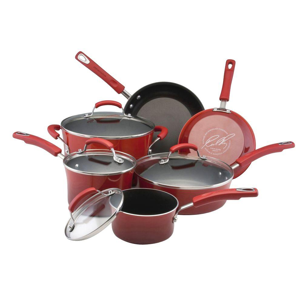 Rachael Ray 10-Piece Nonstick Porcelain Enamel Cookware Set in Red