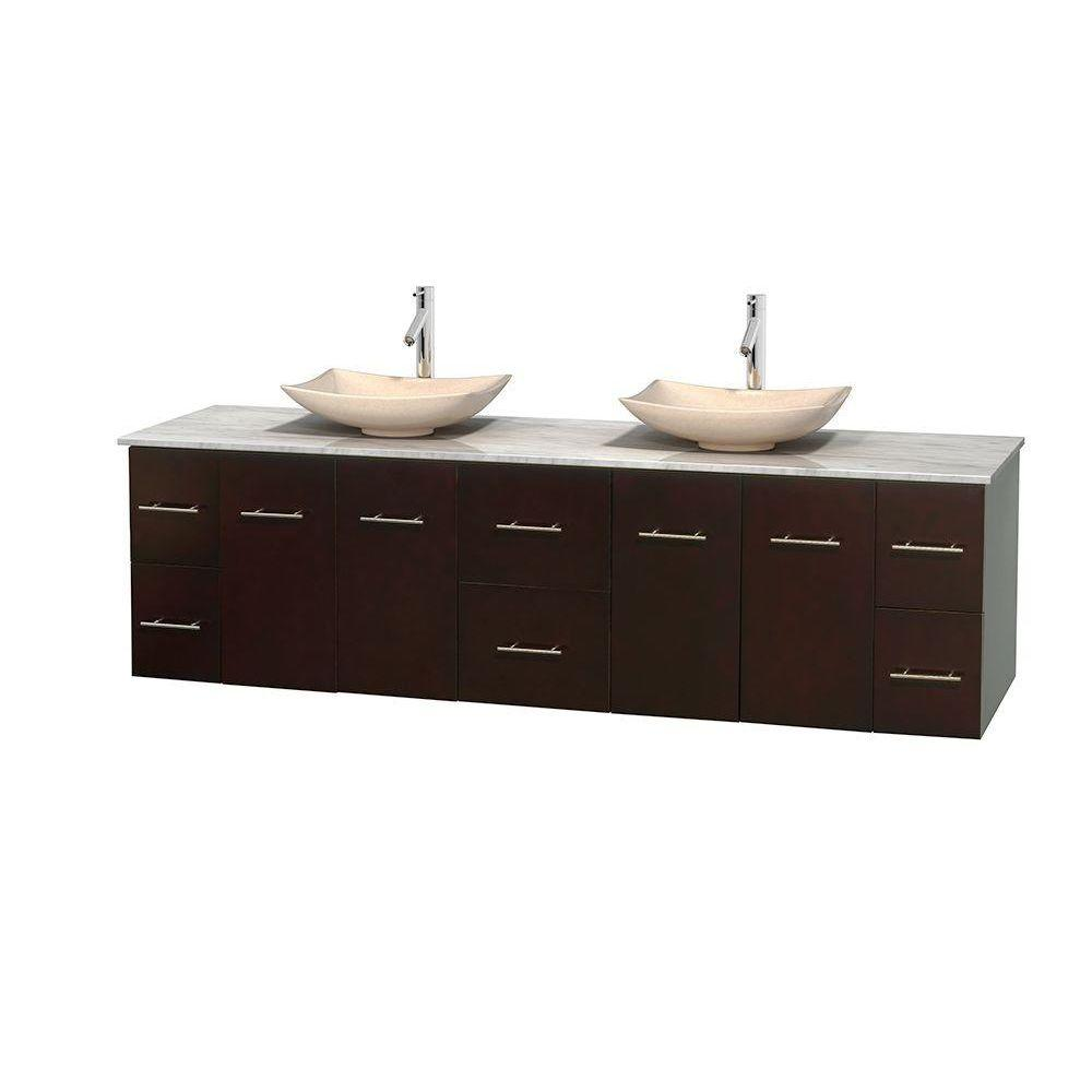 Wyndham Collection Centra 80 in. Double Vanity in Espresso with Marble