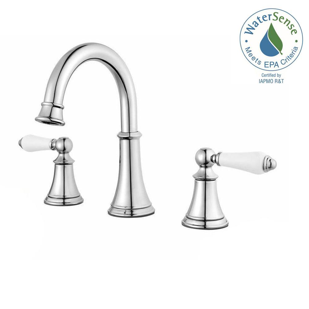 Widespread 2 Handle Bathroom Faucet In Polished Chrome With White Handles