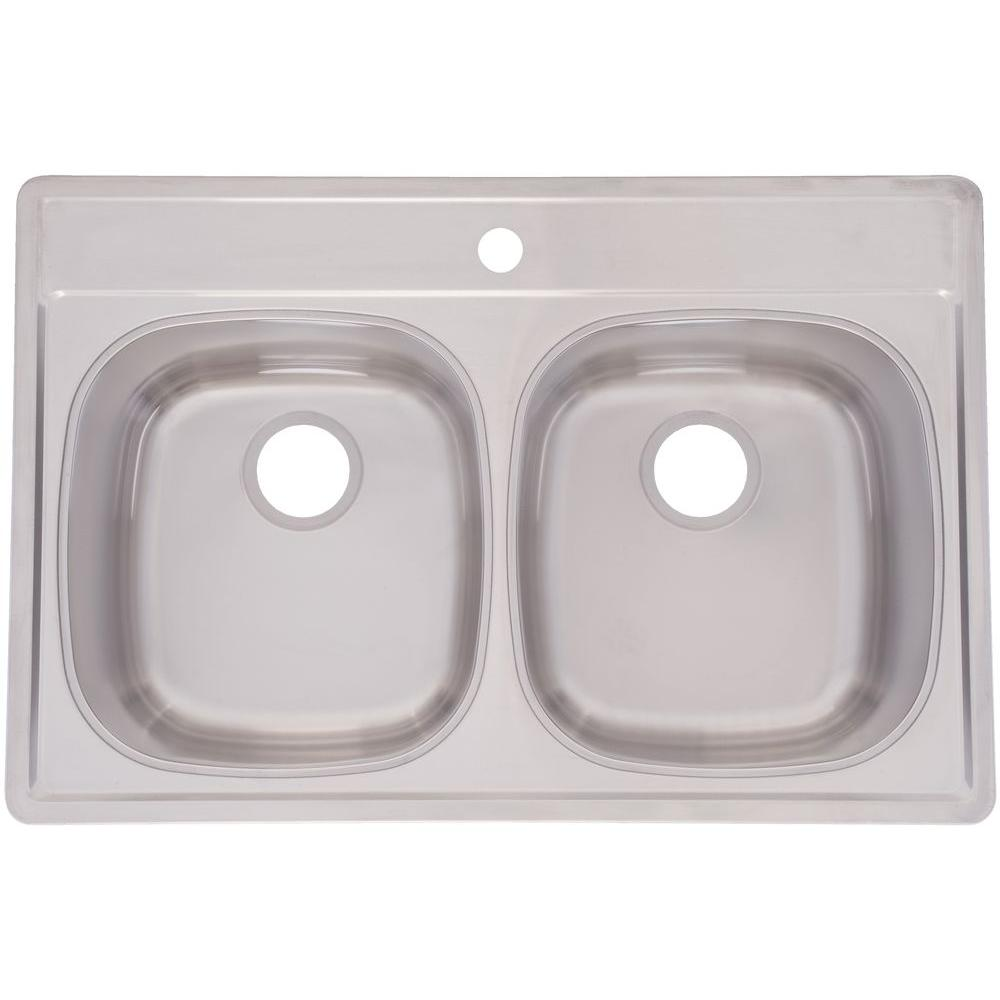 FrankeUSA Top Mount Stainless Steel 33x22x8.5 1-Hole 18-Gauge Double Bowl Kitchen Sink
