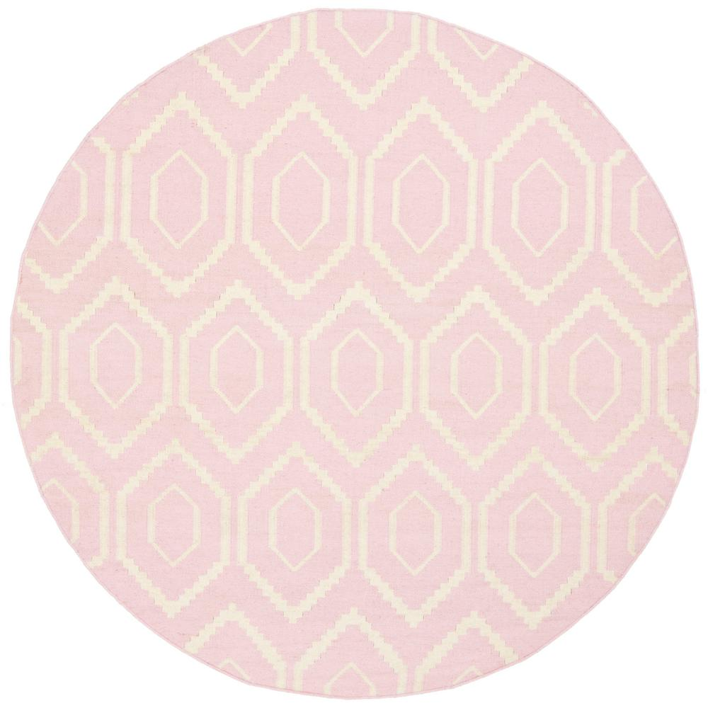 Dhurries Pink/Ivory 8 ft. x 8 ft. Round Area Rug