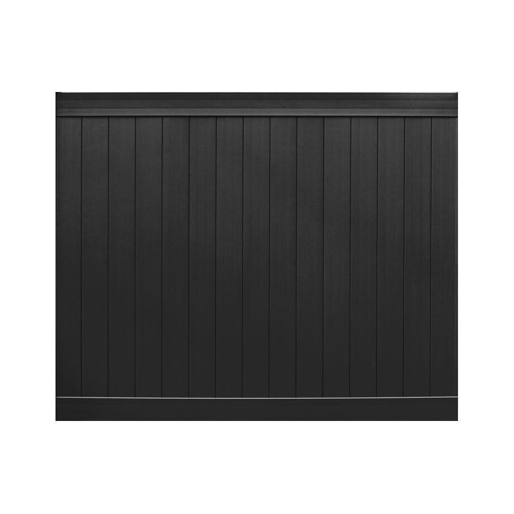Veranda Pro Series 3 in. x 6 ft. H x 8 ft. W Black Vinyl Anaheim Privacy Fence Panel - Unassembled