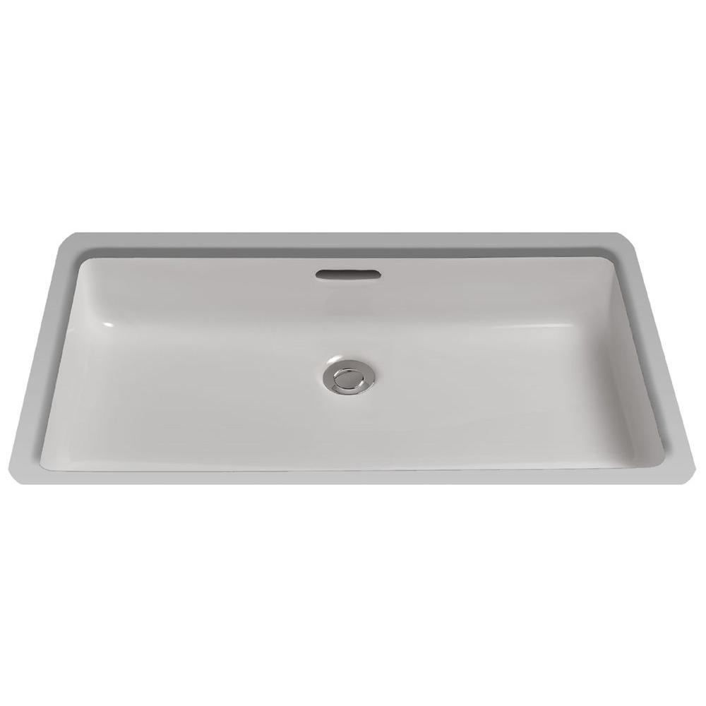 Lavatory Undercounter Vessel Sink in Cotton White with Sanagloss