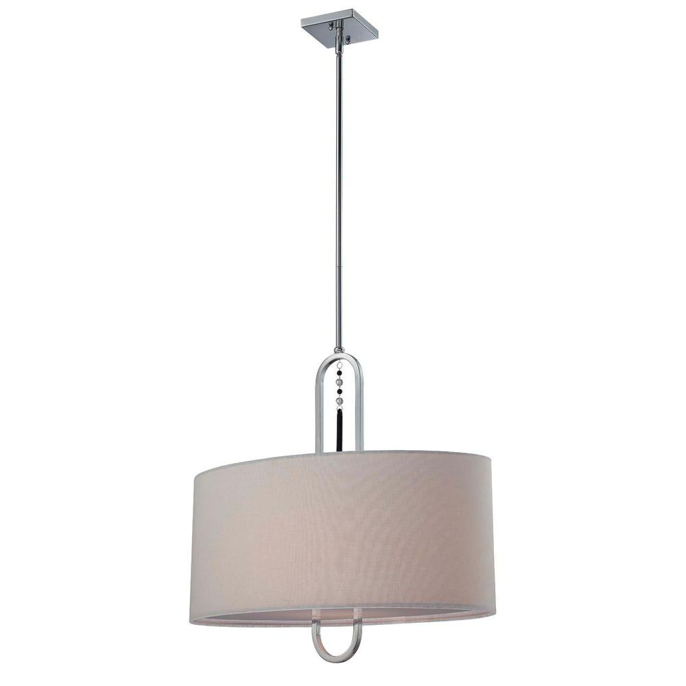 Illumine 1-Light Off-White Chandelier with Fabric Shade