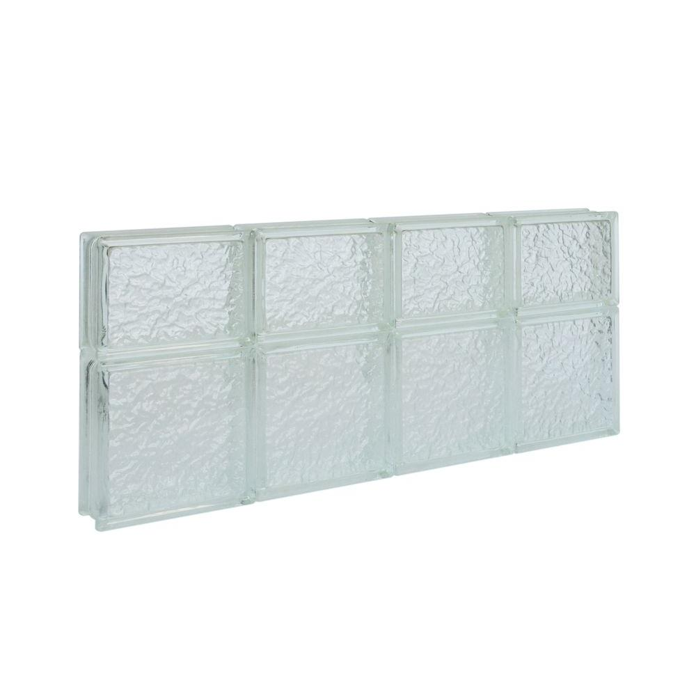 Pittsburgh Corning 31 in. x 13.75 in. x 3 in. IceScapes Pattern Solid Glass Block Window