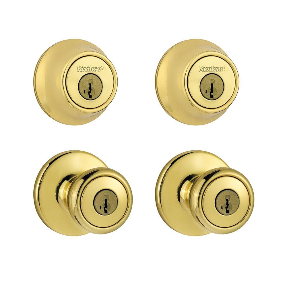 Kwikset Tylo Polished Brass Exterior Project Pack Knob Featuring SmartKey-242T 3