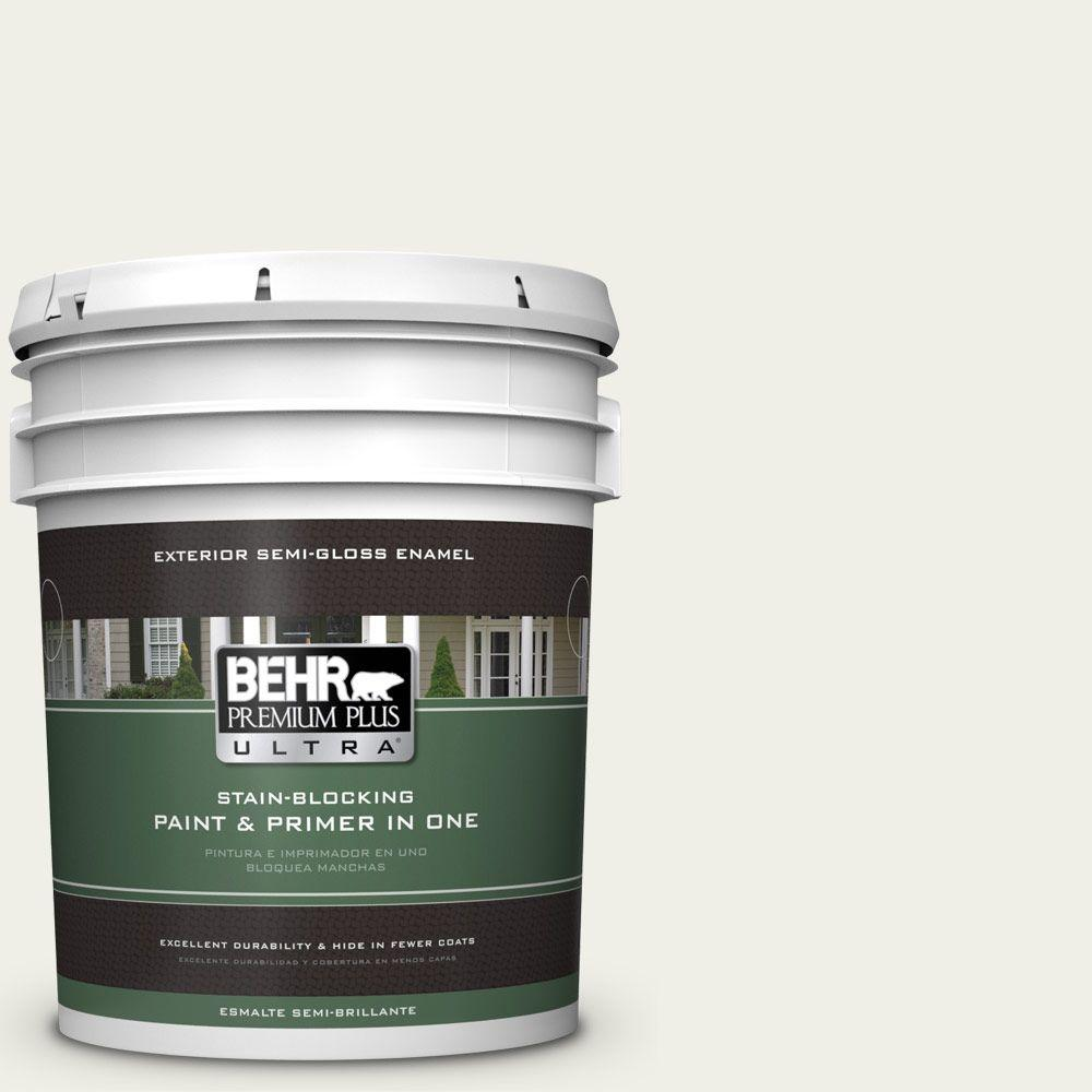 BEHR Premium Plus Ultra 5-gal. #W-F-710 Hushed White Semi-Gloss Enamel Exterior