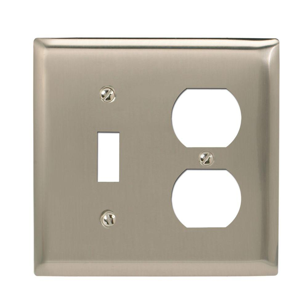 Amerelle Madison 1 Toggle 1 Duplex Wall Plate - Polished Nickel