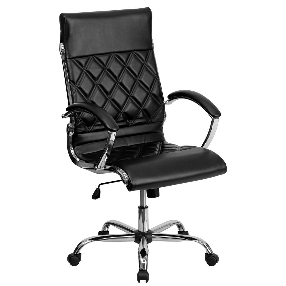 High Back Designer Black Leather Executive Swivel Office Chair with Chrome