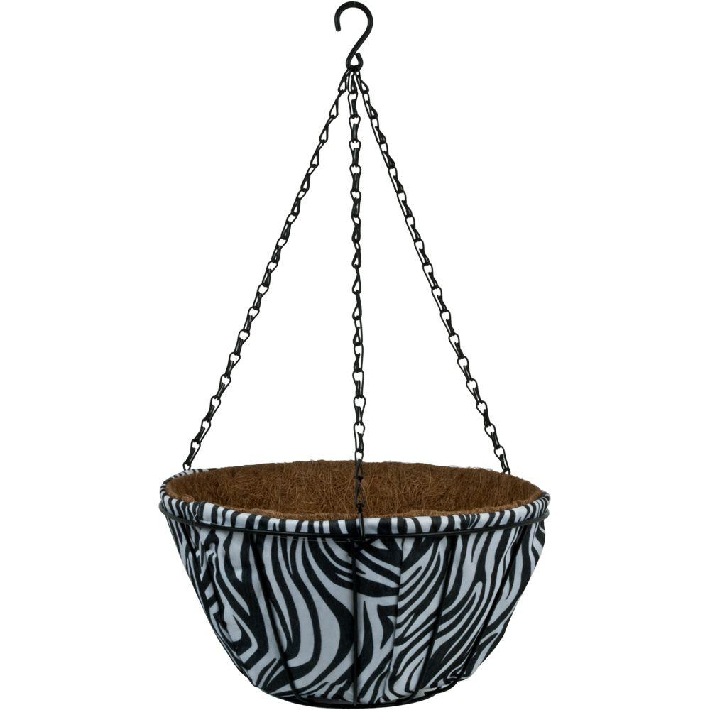 Pride Garden Products 14 in. Garden Party Zebra Coco Fabric Basket (2-Pack)