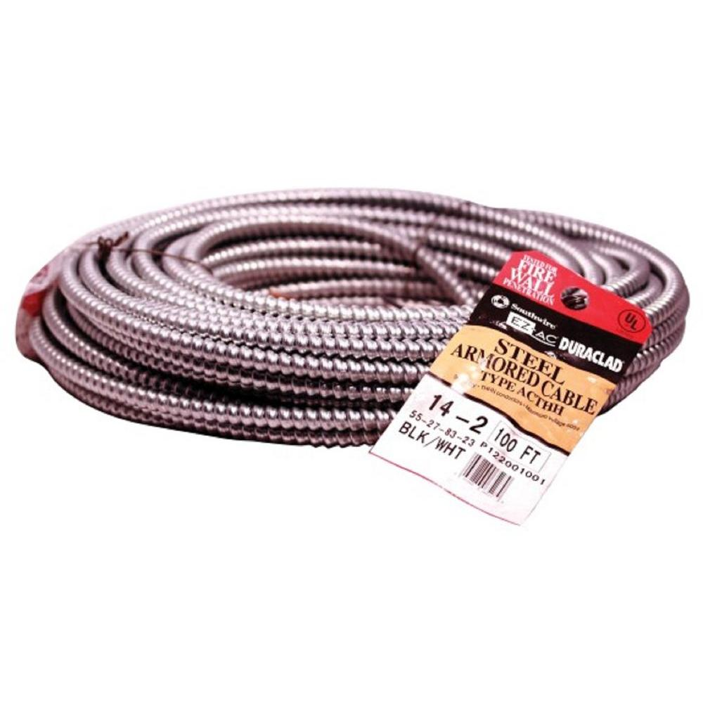 Southwire 100 ft. 14-2S Solid CU Armored MC Cable-55278323 - The