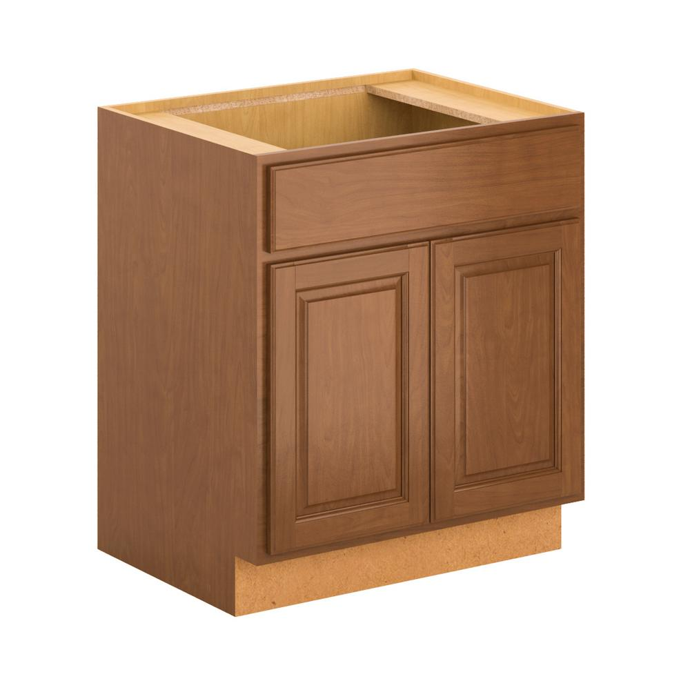Assembled 30x34.5x24 in. Madison Sink Base Cabinet in Cognac