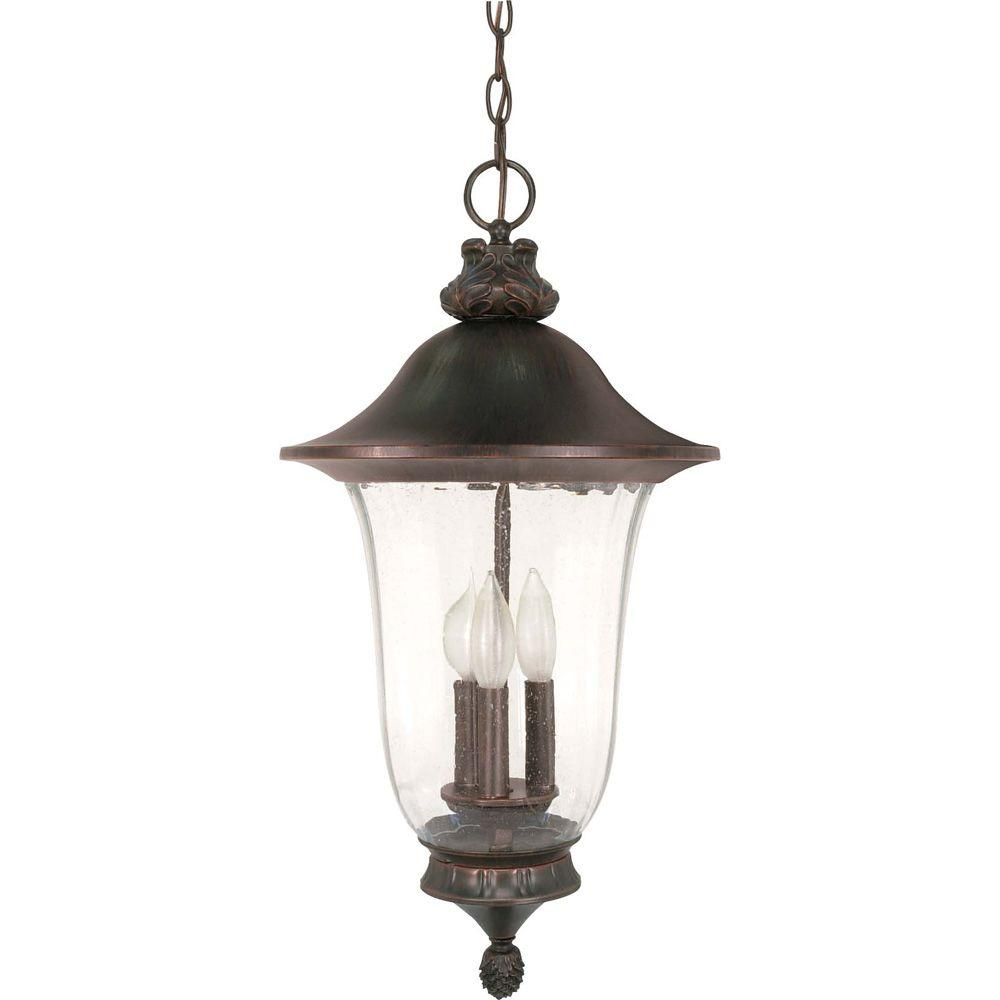 Glomar 3-Light Outdoor Old Penny Bronze Incandescent Pendant Light