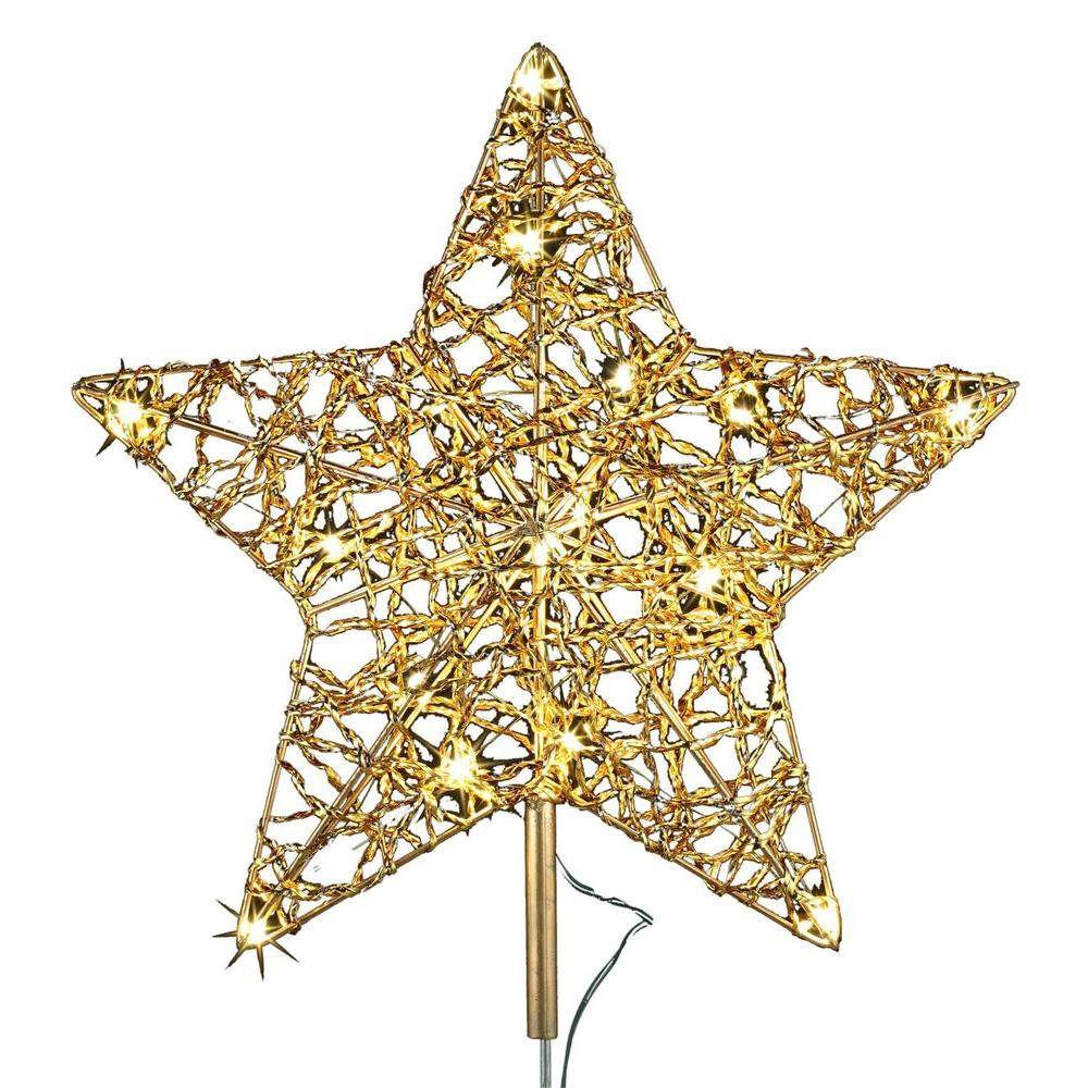 null 12 in. 18-Light LED Gold Five Star Metal Tree Topper