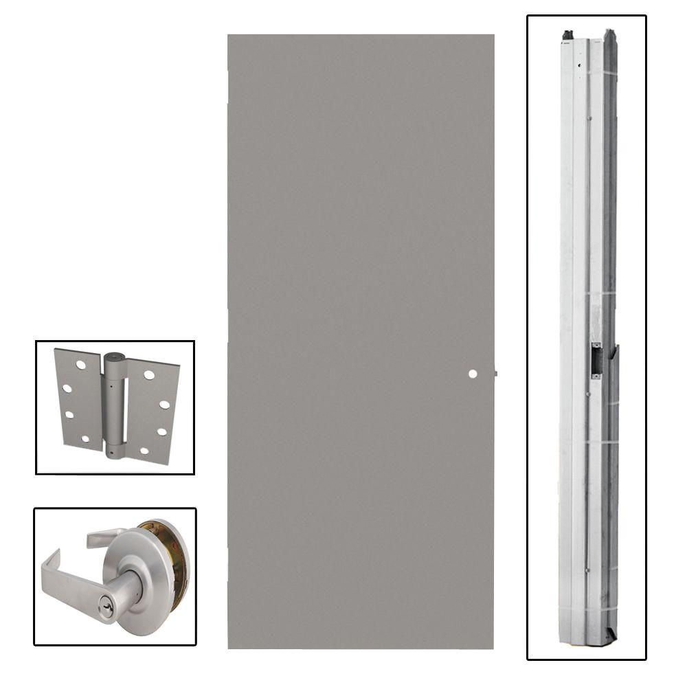 L.I.F Industries 36 in. x 84 in. Flush Gray Steel Commercial Door with Hardware