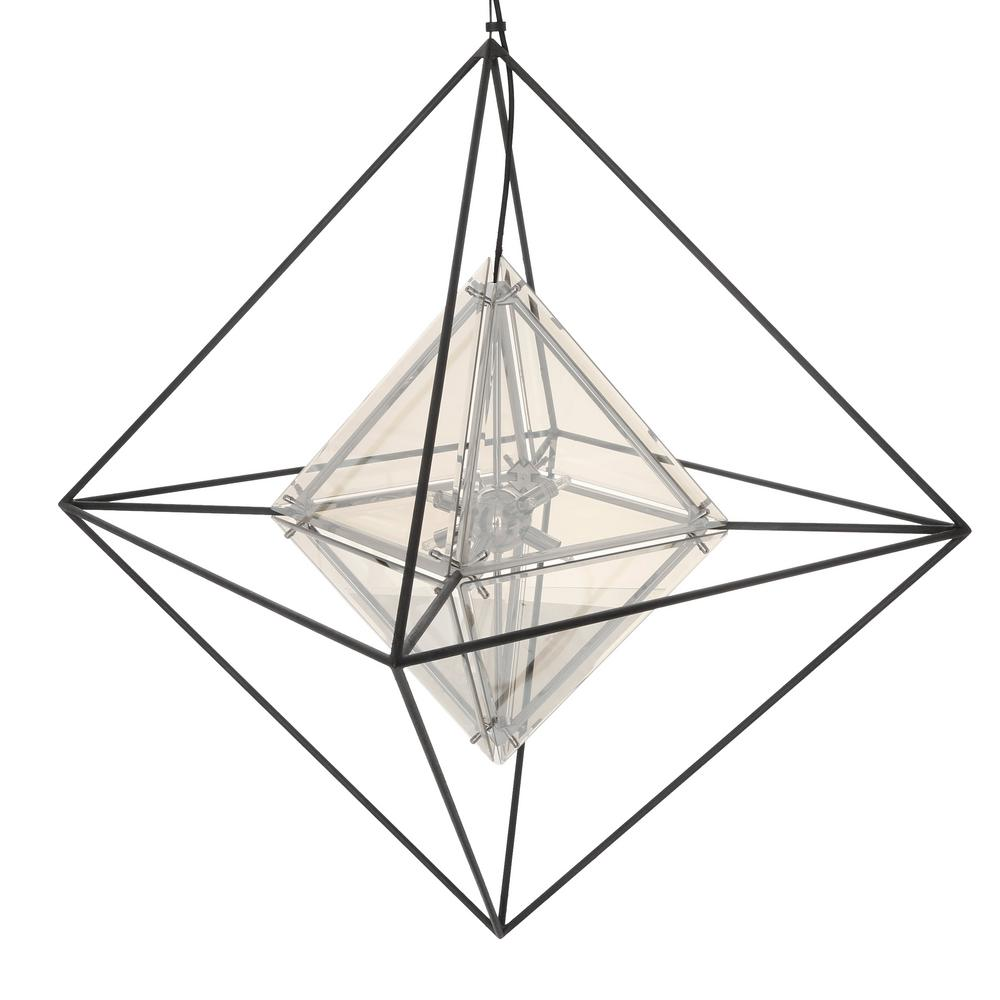 Iron diamond adds depth and dimension to the pendant light