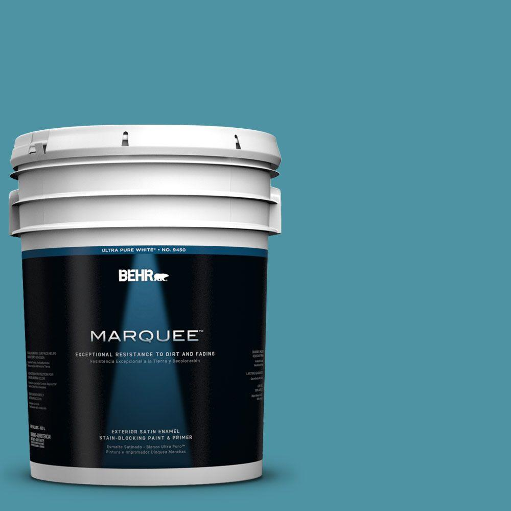 BEHR MARQUEE 5-gal. #530D-6 Teal Bayou Satin Enamel Exterior Paint