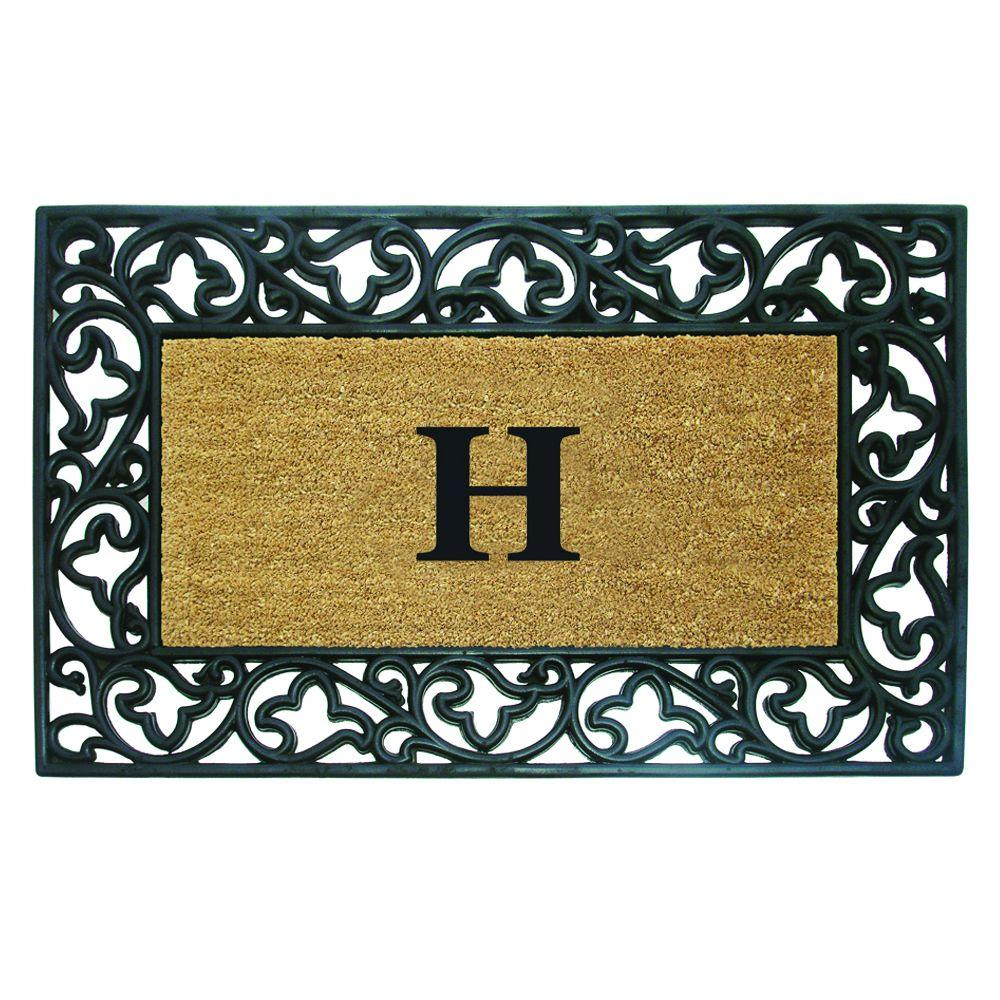 Acanthus Border 30 in. x 48 in. Rubber Coir Monogrammed H