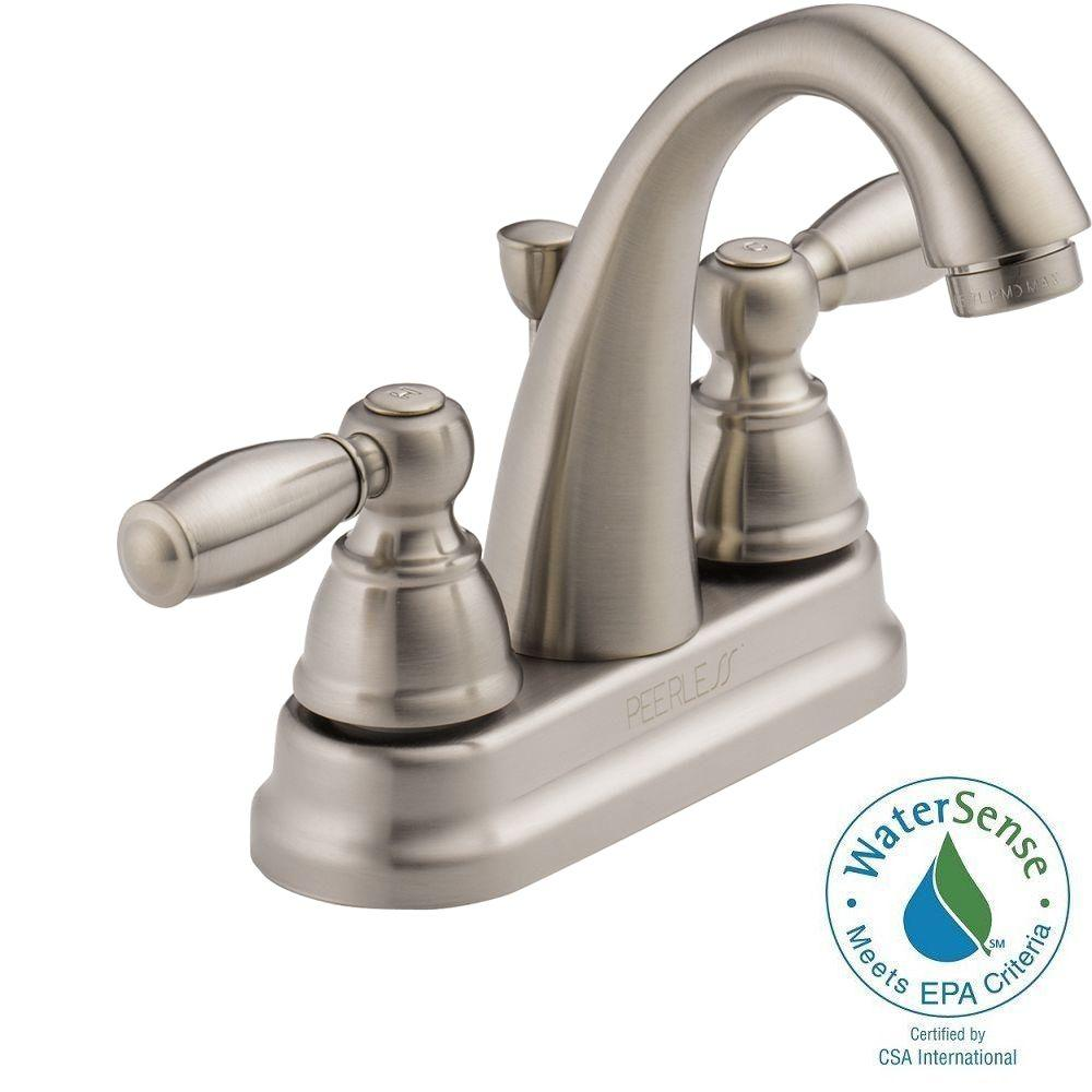 Peerless 4 in. Centerset 2-Handle High-Arc Bathroom Faucet in Brushed