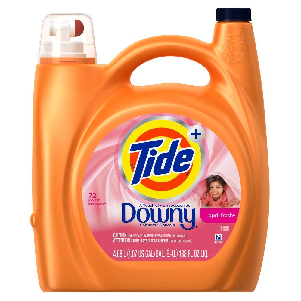 Tide 138 oz. April Fresh Liquid Laundry Detergent with Touch of Downy (72 Loads)