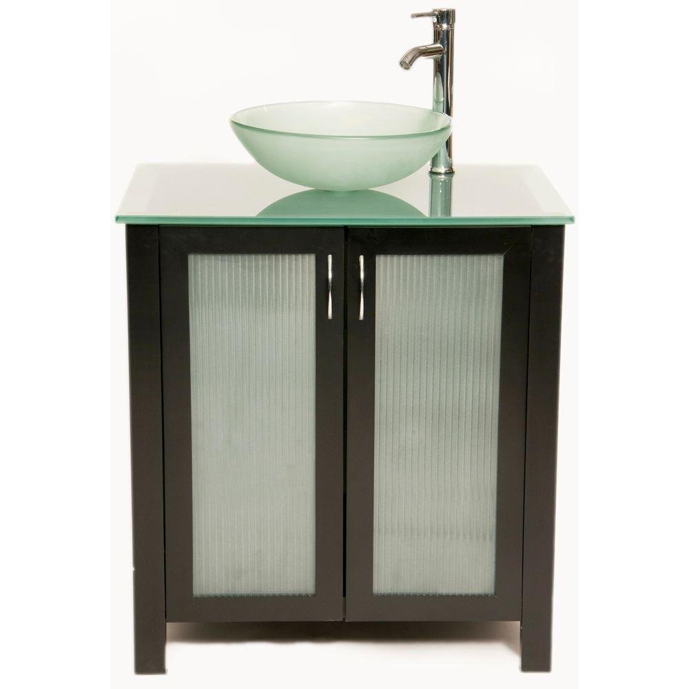 Bionic Allison 31 in. Vanity in Dark Venge with Glass Vanity Top and Vessel Sink in Frosted-DISCONTINUED