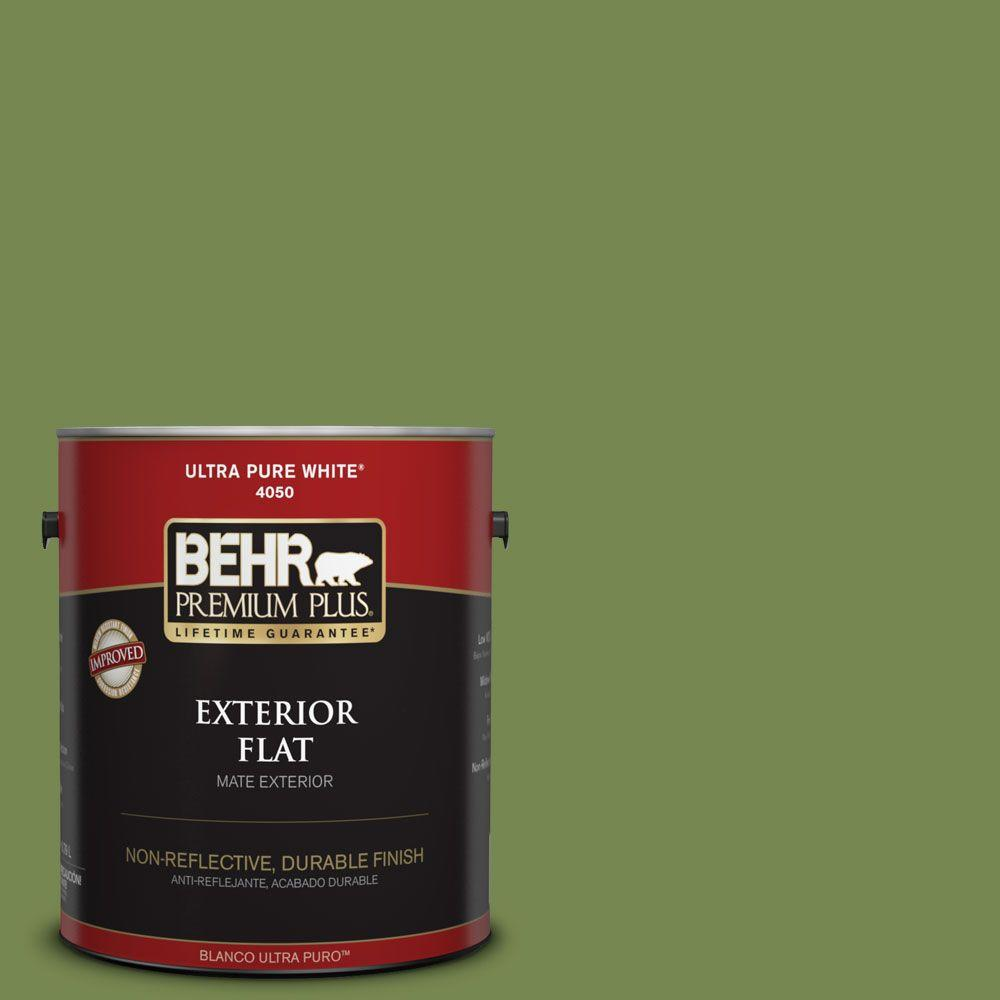 1-gal. #HDC-SM14-2 Green Suede Flat Exterior Paint