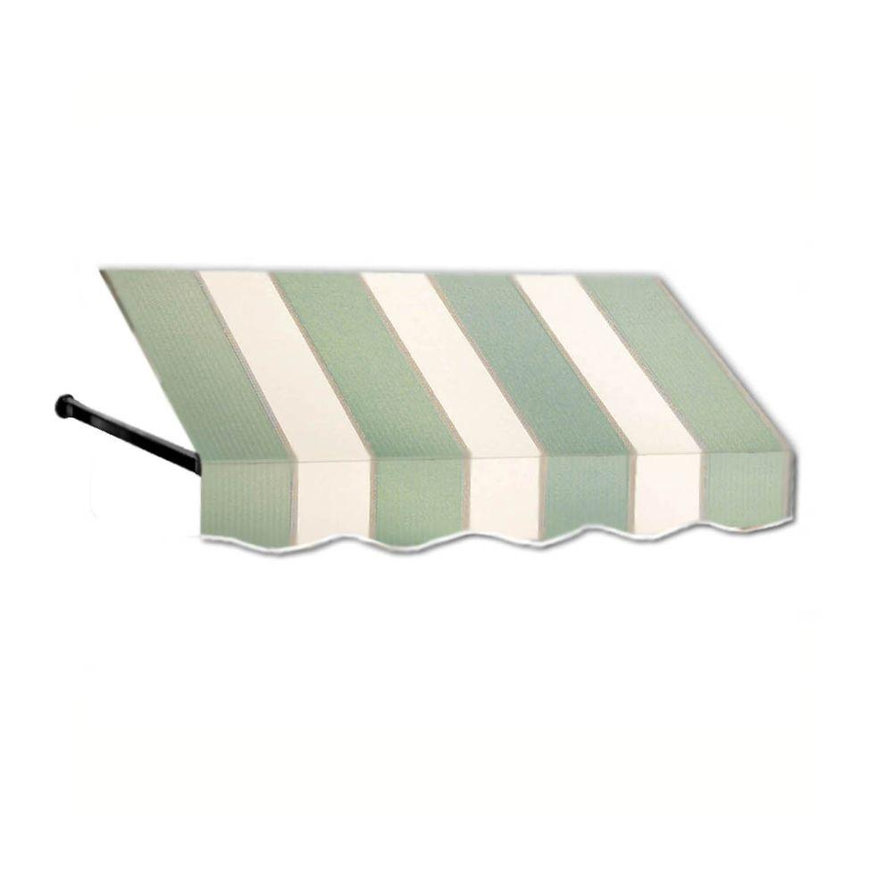 AWNTECH 25 ft. Dallas Retro Window/Entry Awning (24 in. H x 48 in. D) in Sage/Linen/Cream Stripe, Green