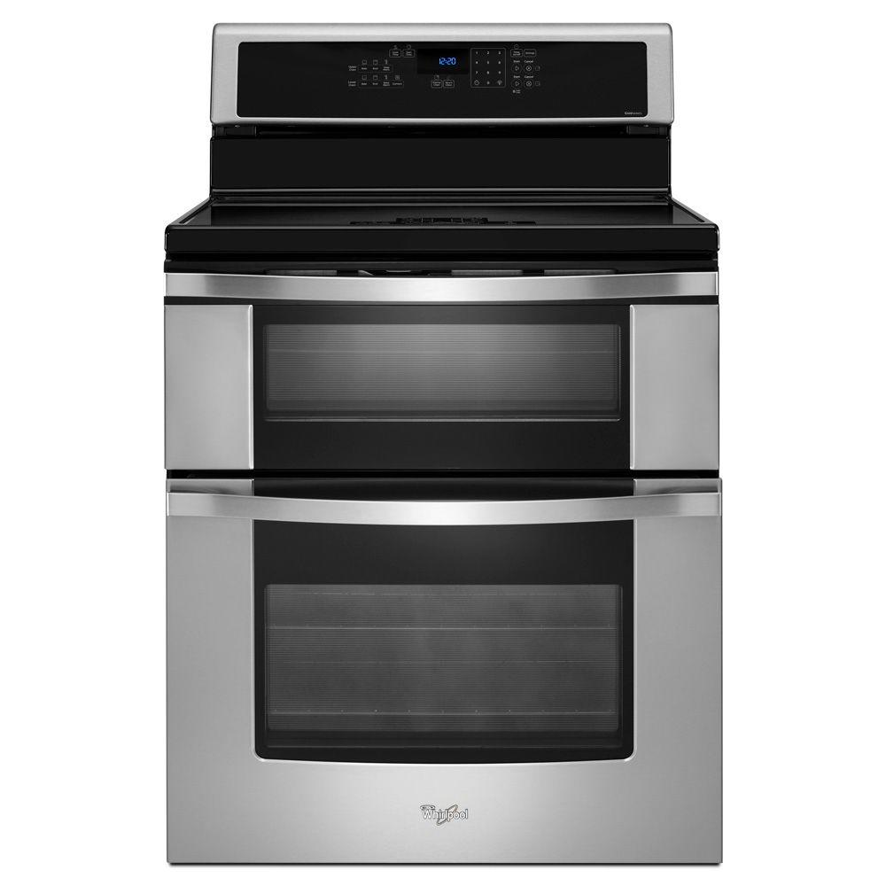 Whirlpool 6.7 cu. ft. Double Oven Electric Induction Range with Self-Cleaning Convection Oven in Stainless Steel