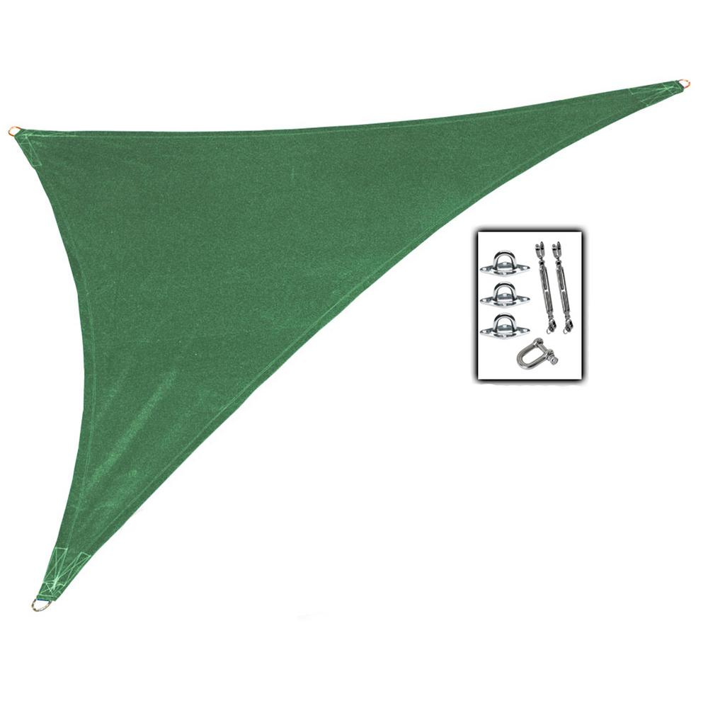 Coolaroo 15 ft. x 12 ft. x 10 ft. Olive Green Right Triangle Ultra Shade Sail with Kit