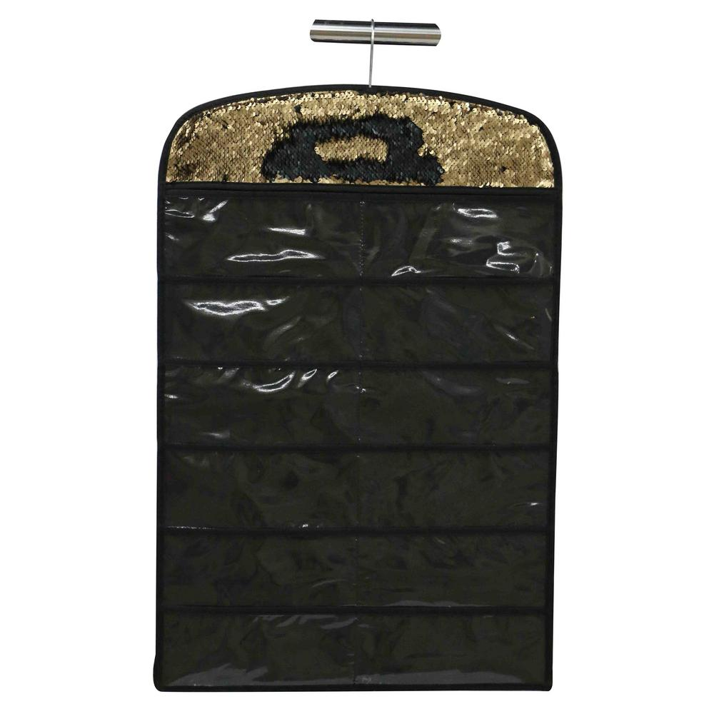 Sequin Jewelry Hanging Organizer in Gold/Black