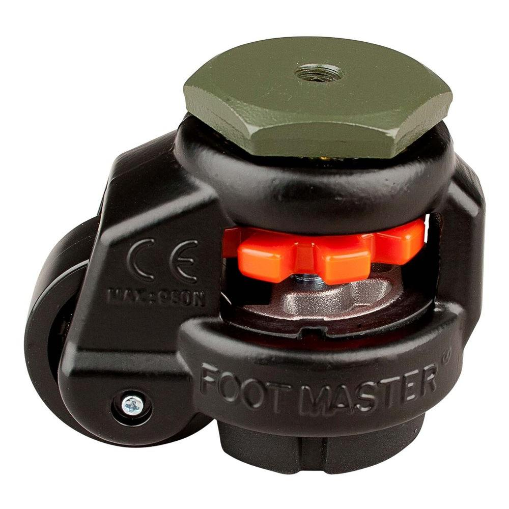 Foot Master 1-5/8 in. Nylon Wheel Metric Stem Leveling Caster with Load Rating 110 lbs.